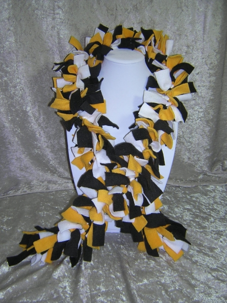 Bruins Hand-Tied Knotted Fringe Fleece Boa Scarf - Handmade by Rewondered D201S-00001 - $24.95