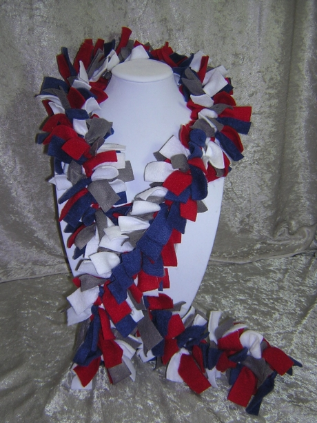 Patriots Hand-Tied Knotted Fringe Fleece Boa Scarf - Handmade by Rewondered D201S-00001 - $24.95