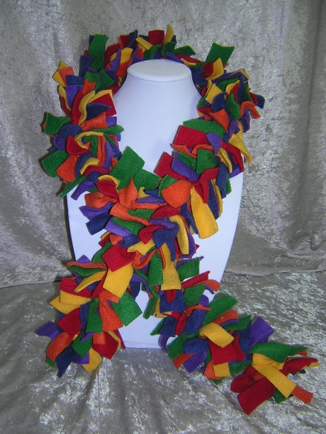 Rainbow Hand-Tied Knotted Fringe Fleece Boa Scarf - Handmade by Rewondered D201S-00001 - $24.95